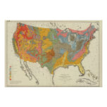 Mapa Geological dos E.U. Pôsteres