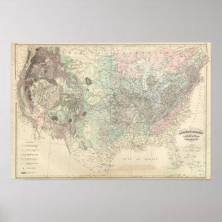 Mapa Geological dos Estados Unidos Pôster