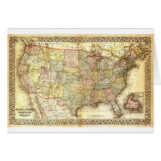 Mapa geral dos EUA dos Estados Unidos idosos do Cartão Comemorativo