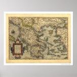 Mapa grego Ortelius 1570 das ilhas Poster
