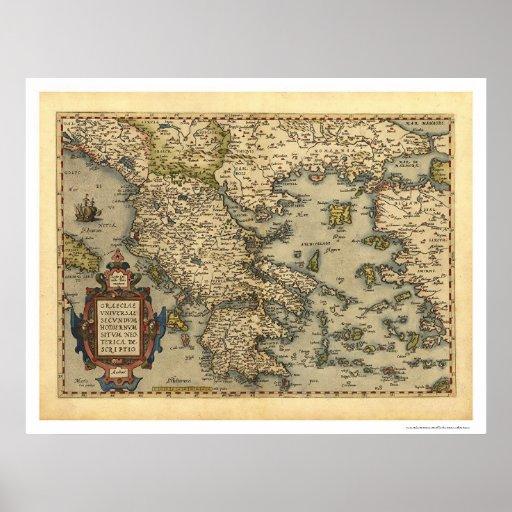 Mapa grego Ortelius 1570 das ilhas Posters
