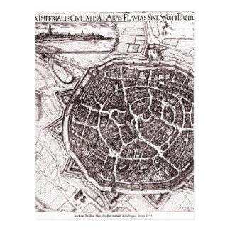 Mapa histórico de Nordlingen, Alemanha em 1651 Cartão Postal