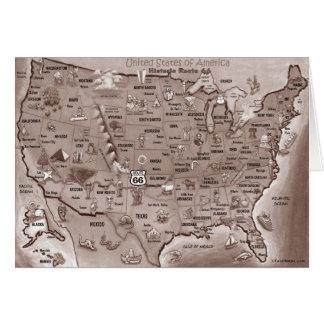 Mapa histórico dos desenhos animados da rota 66 cartão comemorativo