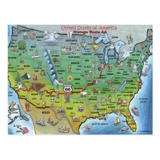 Mapa histórico dos desenhos animados da rota 66 cartão postal