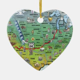 Mapa histórico dos desenhos animados da rota 66 ornamento de cerâmica coração