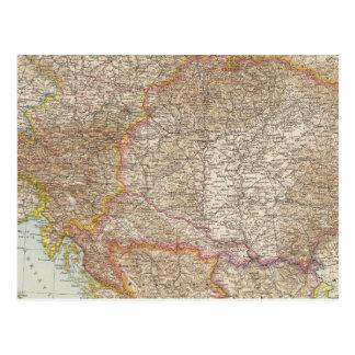Mapa húngaro do império de Áustria Cartão Postal