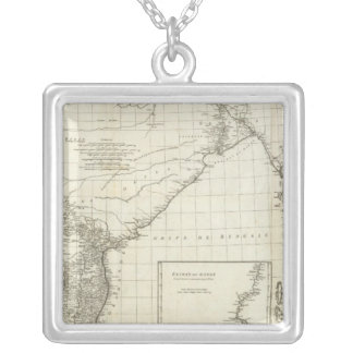 Mapa indiano colar banhado a prata