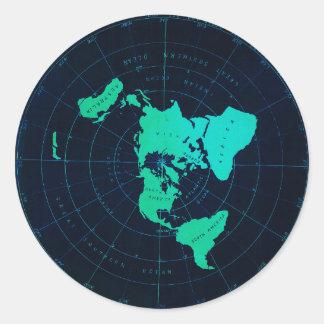 Mapa liso da terra (projeção equidistante adesivo
