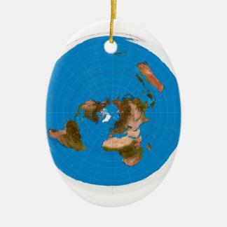 Mapa liso da terra - projeção equidistante ornamento de cerâmica oval