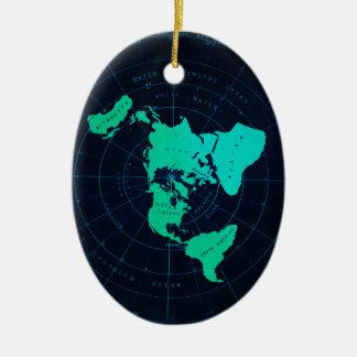 Mapa liso da terra (projeção equidistante ornamento de cerâmica oval
