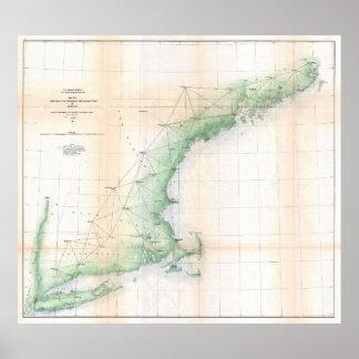 Mapa litoral de Nova Inglaterra (1864) - TXT Pôster