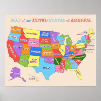Mapa Multi-Colorido dos Estados Unidos Pôster