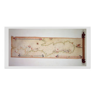 Mapa náutico diminuto do Adriático, 1624 (parc Pôsteres