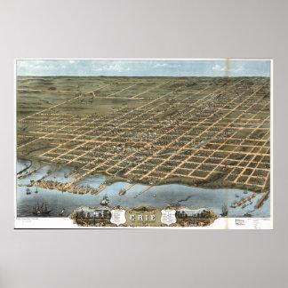 Mapa panorâmico antigo de Erie Pensilvânia 1870 Pôster