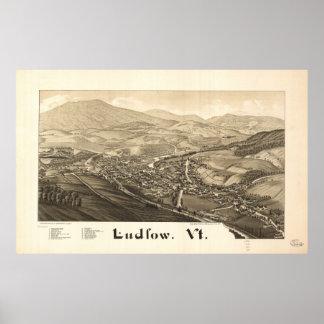 Mapa panorâmico antigo de Ludlow Vermont 1885 Pôster