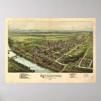 Mapa panorâmico antigo de Royersford Pensilvânia Poster
