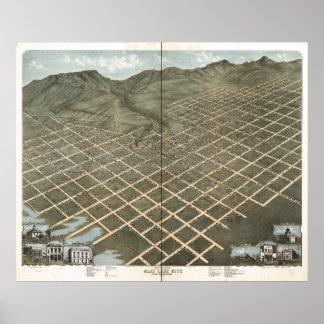 Mapa panorâmico antigo de Salt Lake City Utá 1870 Poster