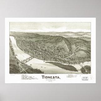 Mapa panorâmico antigo de Tionesta Pensilvânia Pôster
