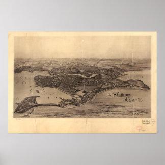 Mapa panorâmico antigo de Winthrop Massachusetts Pôster