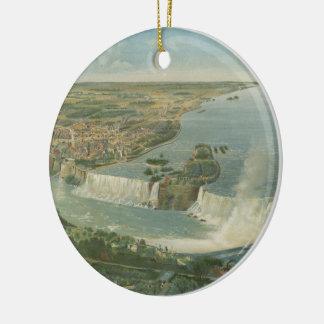 Mapa pictórico do vintage de Niagara Falls NY Ornamento De Cerâmica Redondo