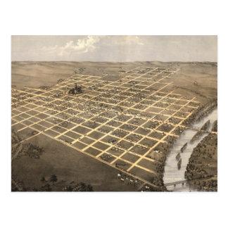 Mapa pictórico do vintage de Topeka Kansas (1869) Cartão Postal