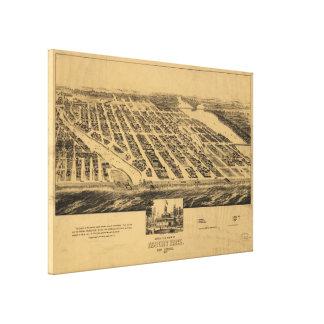Mapa pictórico do vintage do parque NJ de Asbury Impressão Em Tela