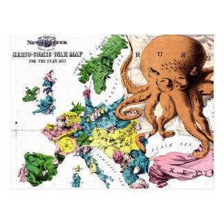 Mapa político dos desenhos animados do vintage de cartão postal