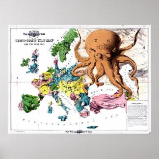 Mapa político dos desenhos animados do vintage de  posteres