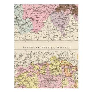 Mapa religioso e lingüístico da suiça cartão postal