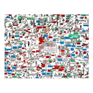 Mapa retro dos desenhos animados 60s de Columbo Cartão Postal