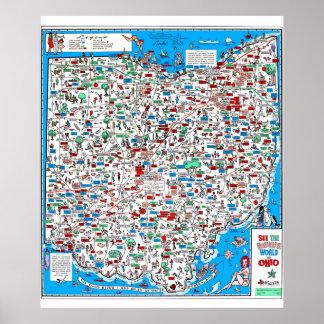 Mapa retro dos desenhos animados de 60s Ohio Poster