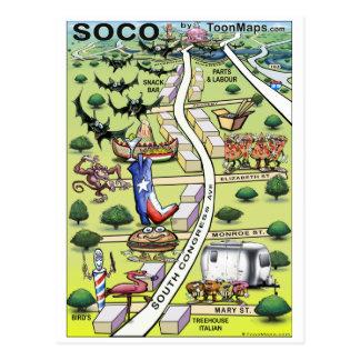 Mapa sul dos desenhos animados da avenida ATX do Cartão Postal