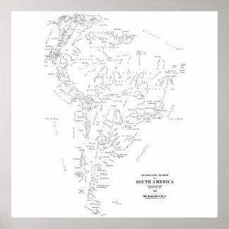 Mapa tipográfico de Ámérica do Sul Pôster