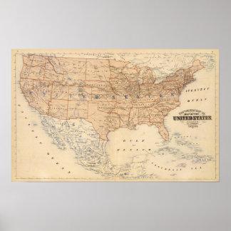 Mapa topográfico dos Estados Unidos Pôster