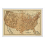 Mapa topográfico dos EUA - 1883 Pôsteres
