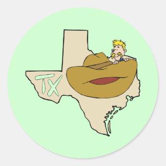 Mapa & vaqueiro de Texas TX com desenhos animados Adesivo
