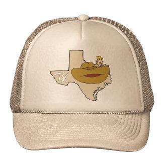 Mapa vaqueiro de Texas TX com desenhos animados Bonés