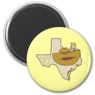 Mapa & vaqueiro de Texas TX com desenhos animados Ímã Redondo 5.08cm