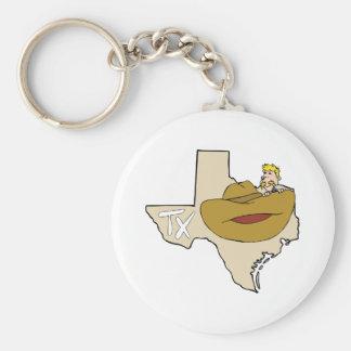 Mapa & vaqueiro de Texas TX com desenhos animados  Chaveiro