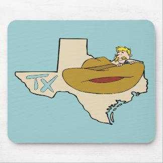 Mapa & vaqueiro de Texas TX com desenhos animados  Mouse Pads