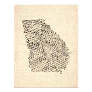 Mapa velho da partitura de Geórgia Panfleto Personalizados