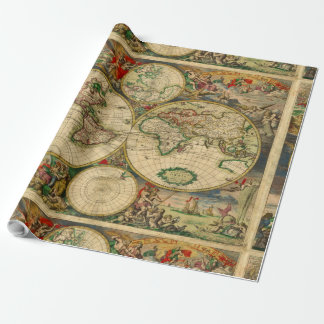 Mapas antigos dos mapas de Velho Mundo do vintage Papel De Presente