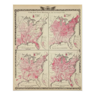 Mapas da vitalidade dos Estados Unidos Pôster