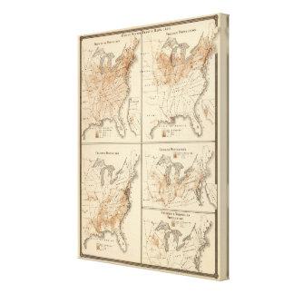 Mapas do recenseamento dos Estados Unidos, 1870 Impressão Em Tela Canvas