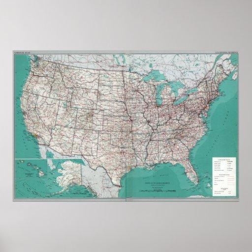 Mapas dos Estados Unidos, poster impresso do mapa