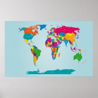 Mapf do mapa do mundo pôsteres