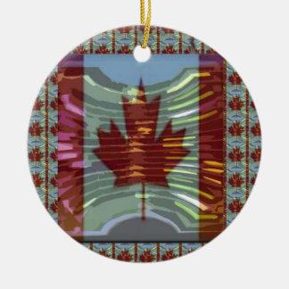 MapleLeaf: Representando valores canadenses Ornamento De Cerâmica Redondo