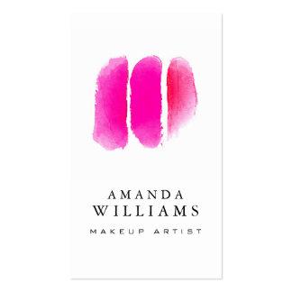 Maquilhador cor-de-rosa das amostras de folha da cartão de visita