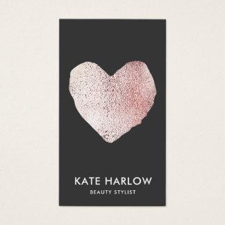 Maquilhador cor-de-rosa moderno preto do coração cartão de visitas