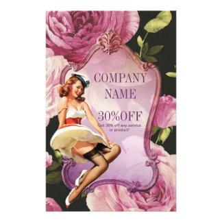 maquilhador feminino do vintage do rosa do roxo flyer 13.97 x 21.59cm